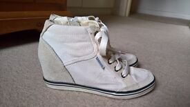 White Esprit wedge trainers - size 38 (5)