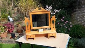 Very attractive old pine dressing table stand with two drawers and a mirror.