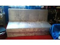 SOFA BED SILVER CRUSHED VELVET WITH STORAGE