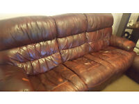 Free Brown Faux leather 4 recliner sofa sitting 6 person