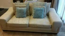 Large cream 2 seater leather settee