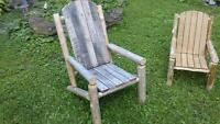 Rustic hand crafted cedar and oak chair