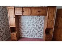 Wardrobe, chest of drawers and overbed storage