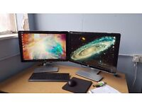 """Two / Dual HP w2408h Vivid Color 24"""" Widescreen HDMI Flat Panel built-in Speakers Monitor for sale"""