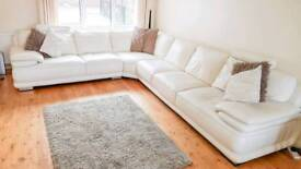 (SOLD) Large Ivory Italian Leather Corner Suite