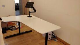 Ikea Bekant desk with heavy duty monitor arm