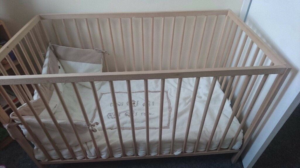 Ikea sniglar wooden cot with matress and bedding