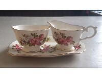 Vintage Creamer and sugar bowl set with saucer