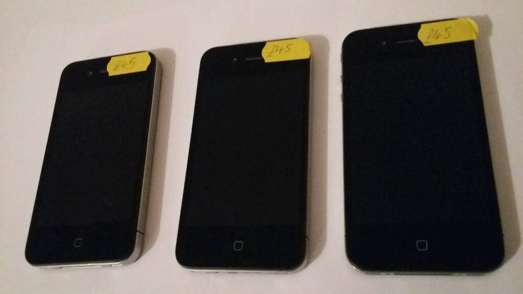 Apple iPhone 4 BLACK 8GB 16GB 02 EEin Moston, ManchesterGumtree - Hi i have for sale Apple iPhone 4 BLACK 8GB B EE £45.00Apple iPhone 4 BLACK 16GB C EE £45.00Apple iPhone 4 BLACK 16GB C O2 £45.00Test before purchase welcomeI am open to sensible swaps for TVs, Laptops, consoles, smartphones. Cash either...