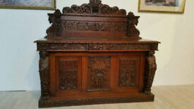 Victorian Neo Gothic Ornately Carved Oak Leaf Holder Sideboard