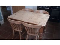 ** BARGAIN ** Solid Pine Kitchen Table and Matching Chairs ** Good Condition **