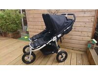 Bumbleride indie twin buggy with carry cots and maxi cosi car seat brackets