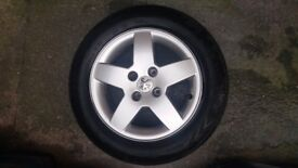 """Set of 4 peugeot 207 Monaco 15"""" alloy wgeels with all good tyres"""