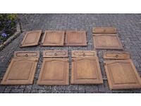 Solid oak kitchen doors with hinges and brass handles - perfect for kitchen / utility room