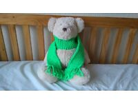 Kids Scarf Bright Green Knitted Woollen Girls or Boys Xmas Childrens Christmas (free postage)