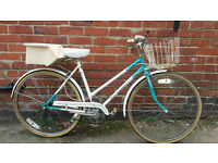LADIES TOWN BIKE WITH BASKET, LOCK AND LIGHTS £60