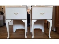 Make An Offer | White Wooden Bedside Table Cabinet w/ Drawer | 1 of 2 Retro Vintage Chic Upcycle