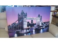 Large Canvas Picture London Bridge, Tower of London at Night