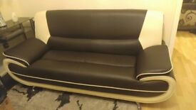 2 Seater Passero Brown and Cream Faux Leather Sofa Suite