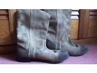Ladies' boots, size 40, suede type leather, toes/heels intended to look scuffed.