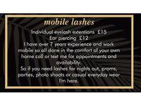 mobile eyelash extensions/ spray tan
