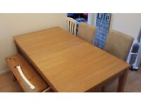 Oak DINING TABLE, SIDEBOARD & 4 CHAIRS removable, machine washable & spare covers IKEA