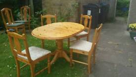 4 chairs and extendable dining table