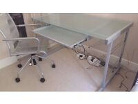 Frosted glass desk and office chair