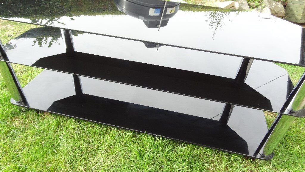 tv unit stand gloss black glass and chrome large