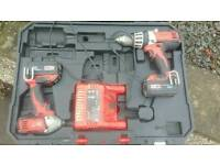 Milwaukee 18v combi drill and impact driver in carry case