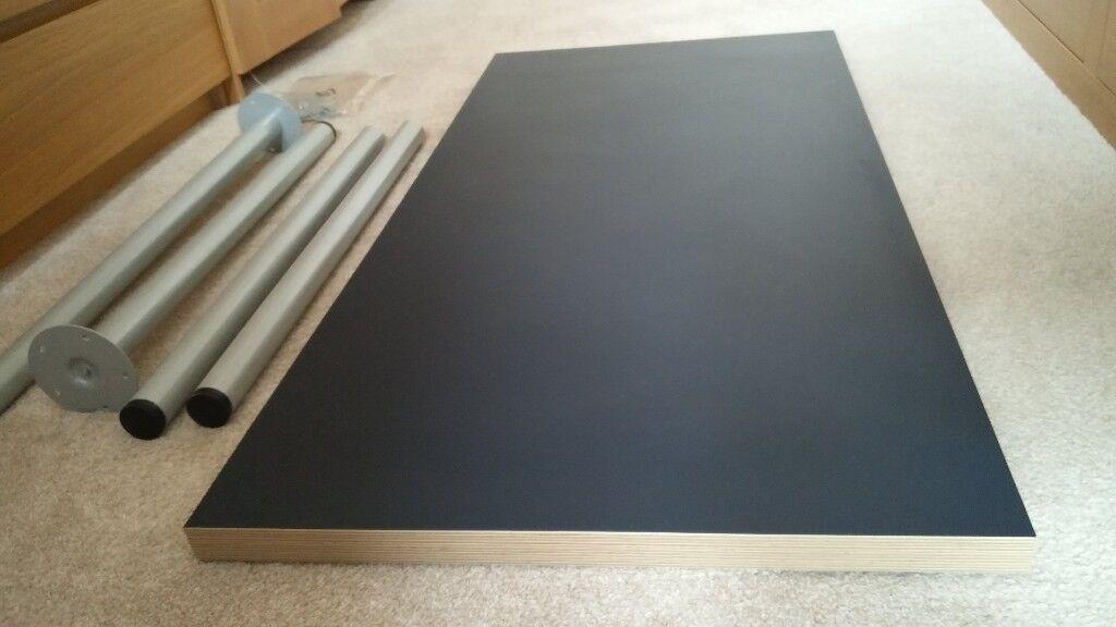 Ikea desk linnmon table top blue 4 x adils legs silver in arnold