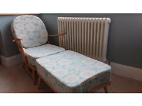 Retro mid century Ercol 203 armchair and matching rare vintage footstool