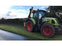 Tractor hedge cutting services C P SMITH AGRI SERVICES
