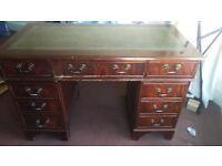 Lovely leather top antique Captains desk for sale