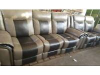 Ex display baxter grey & brown 3+2 + stool reclining sofa