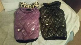 2 BRAND NEW QUILTED FLEECE LINED DOG COATS WITH HOOD