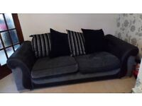 3 seater sofa, cuddle chair and foot stool