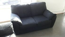 Two-Seater Black Fabric Sofa - COLLECTION ONLY