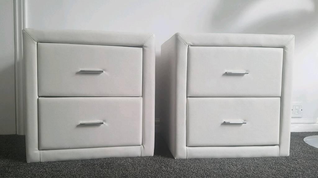White faux leather bedside tables in chapeltown south yorkshire white faux leather bedside tables watchthetrailerfo