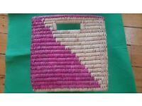 Girls pink cute storage wicker basket in good condition