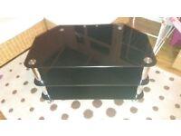 tv black glass stand
