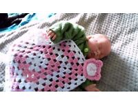 Hand made crochet baby blankie taggie snuggle comforter blanket NEW
