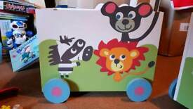 Toy Storage Boxes on wheels with handle. Sturdy wooden. Ideal for children's room