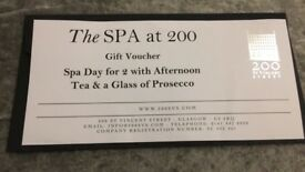 200 SVS Glasgow Spa Day for two, 2 treatments, afternoon tea and prosecco