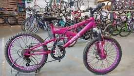 GIRLS SABRE DAZZLE BIKE 20 INCH WHEELS FULL SUSPENSION DUAL DISC 6 SPEED PURPLE VERY GOOD CONDITION