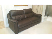 Two Piece High Grade Italian Dark Brown Leather Suite