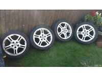 Set of four Hyundai Coupe alloy wheels with good tyres. Fit 2001-2009 cars with five stud hubs.
