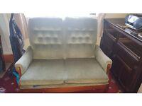 Small retro/vintage love sofa and Single retro/vintage arm chair