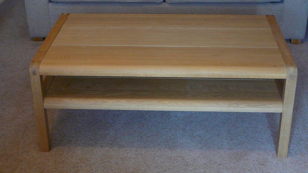 excellent condition habitat solid oak radius coffee table, rrp