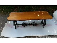 Retro - Tree Slab table with metal scroll and brass feet